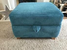 Turquoise Large Footstool With hidden Storage