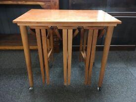 TEAK MID CENTURY NEST OF TABLES - POUL HUNDEVAD STYLE