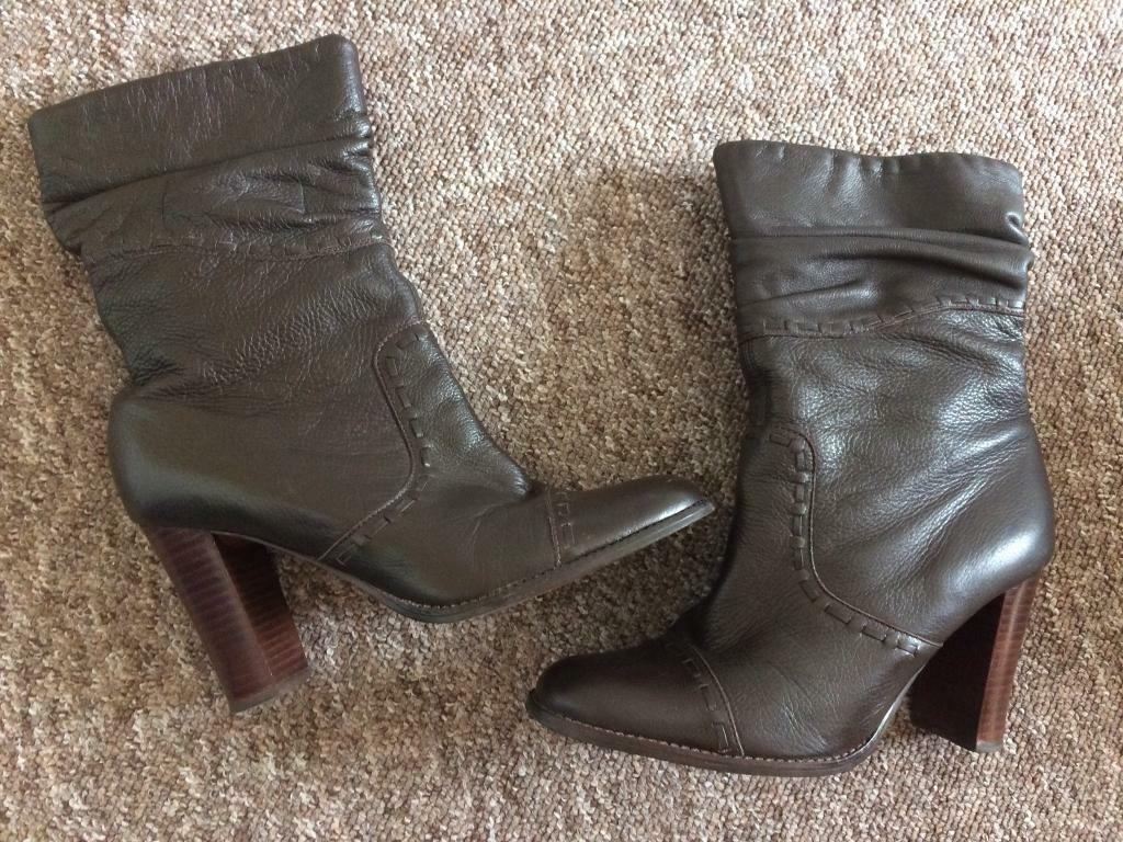 Ladies Faith Dark brown leather boots size 6 - worn twice