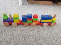 Wooden train X 2 and tractor pre school toy