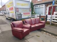 3+1 oxblood recling sofa
