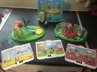 Peppa pig learning tele, slide, round about and figures
