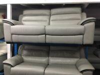 NEW / EX DISPLAY Grey Leather Electirc LazyBoy Soloman Recliner 3 Seater Sofa