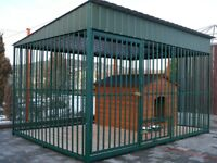 Dog Kennel & Run 3 x 3 m (10 x 10 ft) Pine Green + Wooden Floor and Doghouse