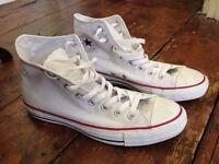 Men's white converse high tops, size 8.5