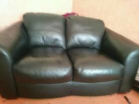 2 seater black leather couch