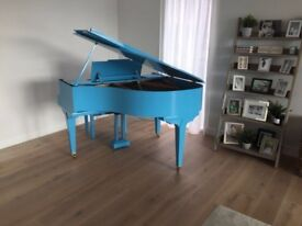 Up-Cycled Gloss Light Blue Baby Grand Piano.