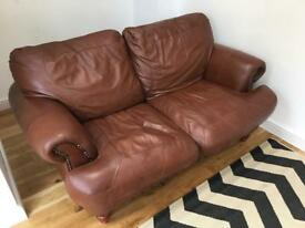 Tan Brown leather Sofa