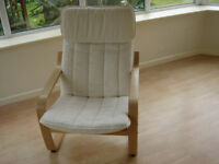Poang (Ikea) armchairs with natural seat cushions