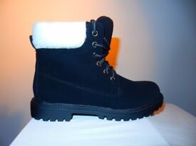 Fur Lace Boots Womens Winter Warm Shoes Size 36 Suede