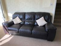 2 Brown leather look sofas