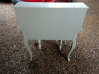 Grey wooden writing desk and stool
