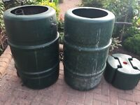 Two Barrel shaped Harcostar 227 litre Water Butt
