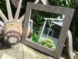 Shabby Chic Rustic Style Mirror painted in Annie Sloan French Linen