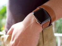 Apple Watch Sport 7000 Series 38MM LEATHER Strap With Gold Aluminum (1st Generation) Perfect!