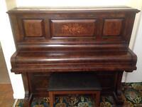 Monington & Weston walnut upright piano