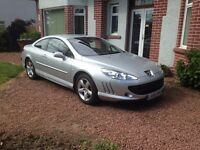 Peugeot 407 Coupe, Silver Leather trim new MOT Low mileage.