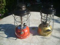 Paraffin Parafin Tilley Lamps Lanterns model X246B x 2 Red Tank & Gold Tank