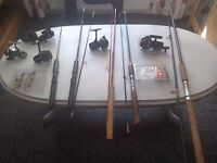 5 fishing rods plus 6 reels and 7 spinners.