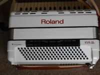 Roland FR-3s electronic accordion-white.