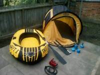 Two man boat+oars+pump+tent+gas burners
