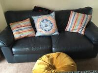 St michaels (m&s) navy blue large 2 seater leather sofa