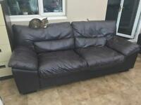 FREE Chocolate brown 3 seater Leather settee