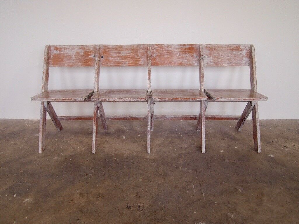 Vintage Antique Painted Folding Bench / Chapel Chairs (free local ...