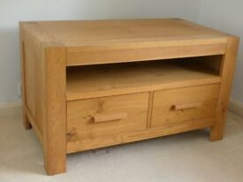 Oak TV Bench with soft-close drawers