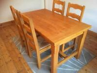 Pine 4 seater table and chairs