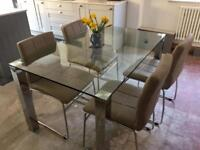 Glass dining table chrome legs 4 grey faux leather chairs