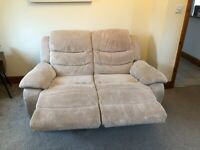 Cream Cord 2 Seater Recliner Sofa