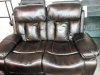 Faux Leather Sofa Recliner Dark Brown