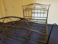 Metal King Size Bed grey with good mattress