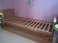 """Mothercare beech 2'6"""" single child's bed frame"""