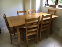 Dining table and chairs, 6 seater, solid oak, excellent condition
