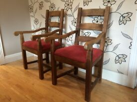 5 CHUNKY OAK DINING CHAIRS