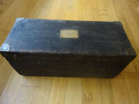 Vintage Shipwright's Carpenter's wooden chest & some old carpentry hand tools