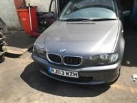 03 BMW E46 318 PETROL 4 DOOR THIS CARS FOR PARTS FOR ANY PARTS CALL ON