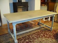 Coffee Table vintage shabby chic Annie Sloan paint 106cms x 54, Height 46 cms pale green layers