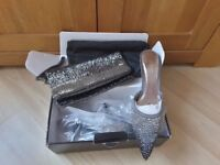 Shades of grey sequined shoes and matching evening bag