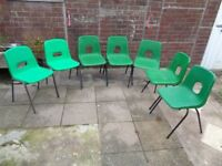 Hille, Green Stacking Chairs