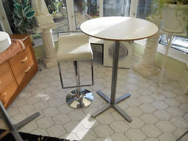 White Bar Table and White Bar Stool with Chrome Base