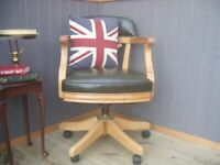 Stunning Green Leather Chesterfield Captains Chair