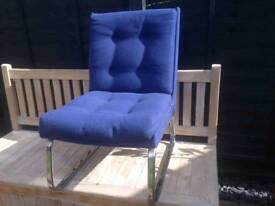Blue Easy Chair with Buttoned back