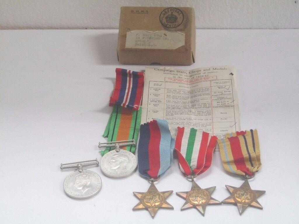 Five World War II with original box addressed to F Watts of Knowle Bristol