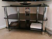 Glass TV Stand - Black and Chrome