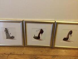 Framed shoe pictures