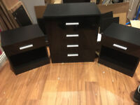Brand New Black 4 Drawer Chest and 2 x 1 Drawer Bedside Cabinets