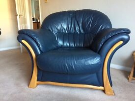 Blue leather two seater sofa and 1 chair